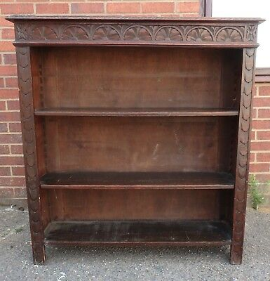 Victorian antique solid carved oak Green Man type adjustable library bookcase