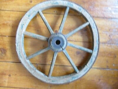 Antique IRON RIMMED WOODEN WHEEL