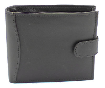 Mens RFID Blocking Real Leather Wallet Zip Pocket Coin Pouch ID Window 340 Black