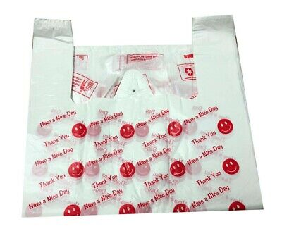 Strong Plastic Vest Carrier Bags Smily Face Thank You Print Large Jumbo 21Micron