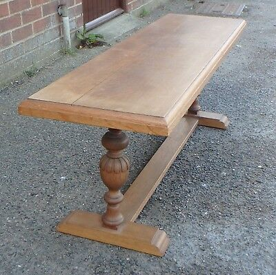 Edwardian antique solid quarter sawn oak Arts Crafts hall kitchen bench settle