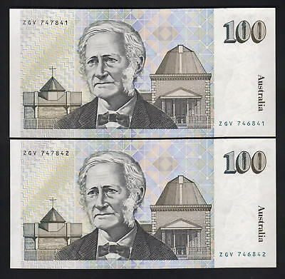 R-612. ERROR - MISMATCHED Serial Numbers. (1990) Fraser/Cole  - $100 CONSEC Pair