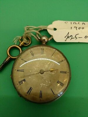 Antique silver pocket watch working. C 1895.