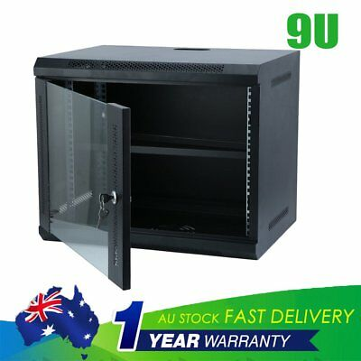 9U 9RU Deep Network Data Rack With Cooling Fan Wall Mounted Server Cabinet 400mm