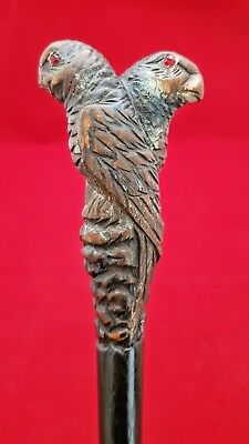 Antique Victorian Carved Parrot Walking Cane Stick Rolled Gold Collar