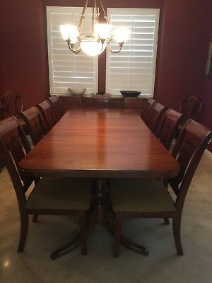 Antique Duncan Phyfe Table, 10 Dining Chairs, Sideboard, Lighted China Cabinet