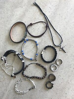 Job Lot Mens Costume Jewellery Bracelets Rings Necklace - 12 Items