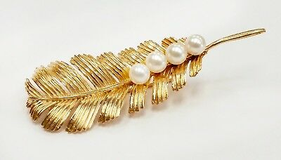 14k Yellow Gold Leaf Pin / Brooch with Pearls - Vintage Pre-Owned