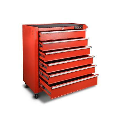 6 Drawers Toolbox Storage Cabinet Trolley - Red