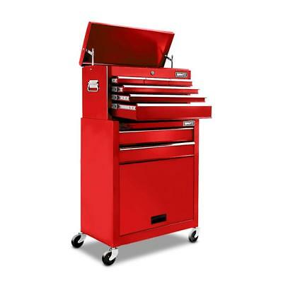 8 Drawers Mechanic Tool Box Cabinet Trolley - Red