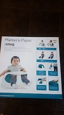Mamas & Papas Floor Baby Snug Booster Seat With Feeding/play Toy Tray,teal