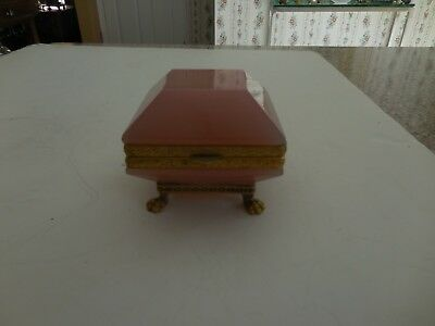 Quality Antique French Pink Opaline Glass Casket Box   Price Reduced