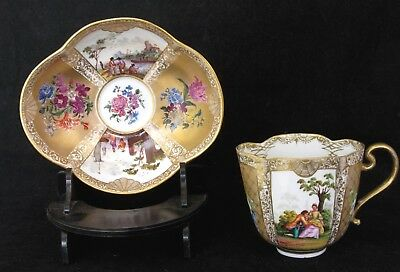 Antique Meissen Cabinet Cup & Saucer Harbour Scenes, Couples, Gilt Ground 19Th C