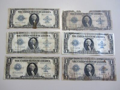 Lot Of 6 $1 1923 Silver Certificates All Have Issues