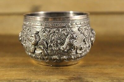Antique Solid Silver Asian Repousse Bowl Highly Detailed Signed Base Flower Mark