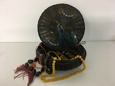 Vintage Chinese Jewellery Box With Coral , Horn , Amber , Bakelite Necklaces