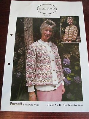 """Carl Boyd machine knitting pattern no.45 """"The Tapestry Look"""" jacket, 4ply wool"""