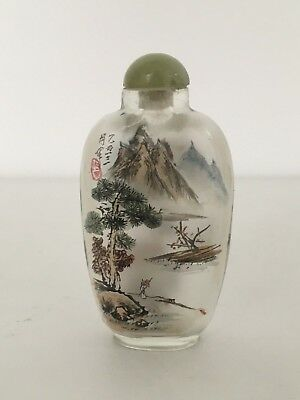 Signed Early 20 Th Century Chinese Painted Glass Snuff Bottle