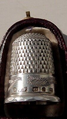 Rare antique 1888-89 hallmarked silver thimble with original leather housing