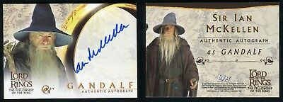 Topps Lord of The Rings Fellowship LOTR Ian McKellen Gandalf Autograph Auto Card