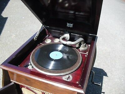 Great Mahogany Cased Wind Up The Sterno Gramaphone Record Player Working