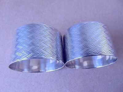 Beautiful Pair  Sterling Silver Engine Turned Napkin Rings 1920, Not Engraved