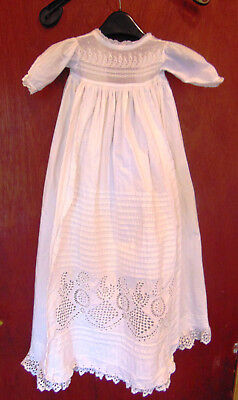 C2 Pretty cotton antique Christening robe baby dress doll's dress handmade lace
