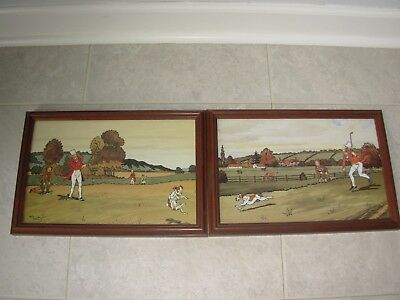 Lot of 2~Harry Eliott Framed Golf Prints /Pictures~GOLFER PRINTS w/ Dogs~NICE~