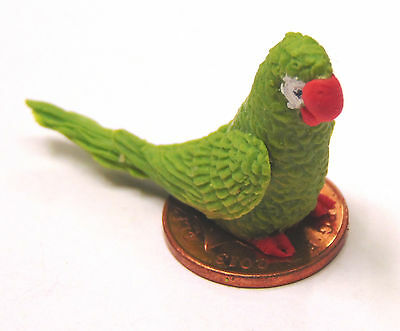 1:12 Scale Large Green Polymer Clay Parrot Dolls House Miniature Accessory P2