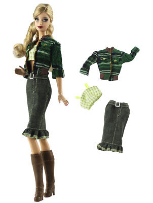 3 Pcs Set Fashion Outfit Coat+vest+skirt FOR 11 in. Doll Clothes