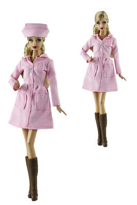 2 Pcs Set Nurse Clothing Fashion Outfit Dress+hat FOR 11 in. Doll Clothes
