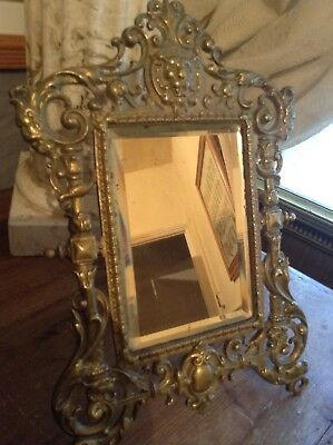 Antique solid brass late 19 century standing mirror(beautifully cast)