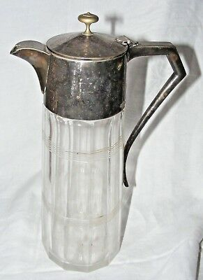 Antique Stylish Alpha Plate Silver Plate And Cut Glass Crystal Claret Jug 1892