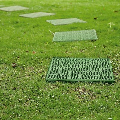 4 X Green Interlocking Plastic Garden Path Floor Tiles Lawn Walkway Patio