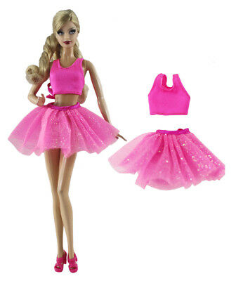 2 Pcs Set Pink Ballet Dress Fashion Outfit Top+skirt FOR 11 in. Doll Clothes a09