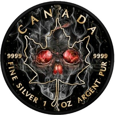 Canada 2018 5$ Maple Leaf - Smoked Skull Black Ruthenium 1oz Silver Coin