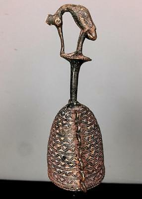 Old Tribal Benin Bronze Cock With Bell      --- Nigeria