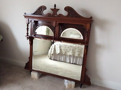 Antique Wooden Overmantle Mirror In Excellent Condition.