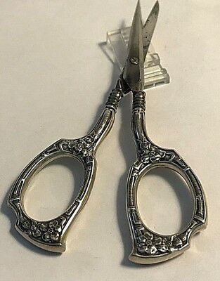 Antique Watrous  Flowers Handles Sterling Silver Embroidery Sewing Scissors #326