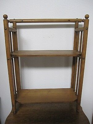 Antique Oak Stick And Ball Curio Book Wall Hanging Or Free Standing Shelf