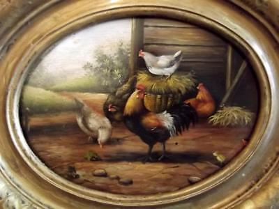 Antique FRENCH PRIMITIVE 19th Century Oil Painting CHICKENS IN FARMYARD