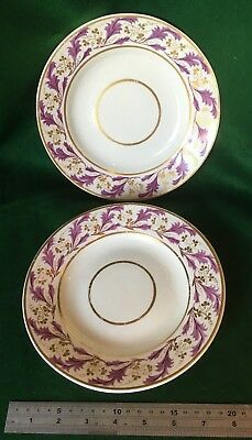 c.1806-1825 PAIR of DERBY PLATES ANTIQUE GEORGIAN PUCE & GOLD 8 inches (20cm)