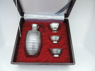 Vintage Rare Japanese Solid Sterling Silver Decanter & 3 Cup Set Japan
