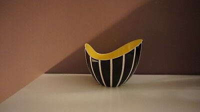 Vintage Hornsea pottery black white and yellow bowl
