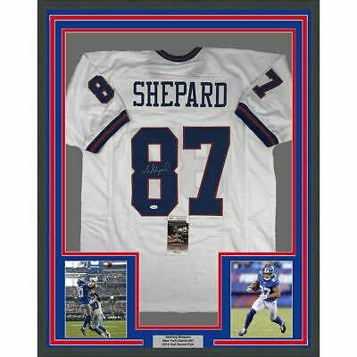 e2dea67f8 FRAMED Autographed Signed STERLING SHEPARD 33x42 NY Color Rush Jersey JSA  COA