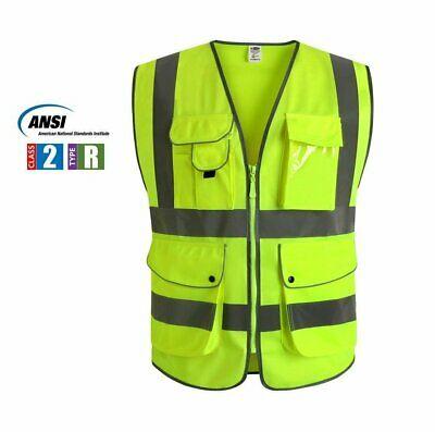 Multiple Pockets Class 2 High Visibility Zipper Front Safety Vest