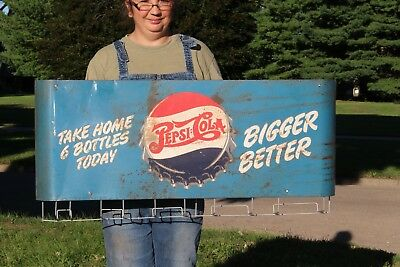 Rare Vintage 1940's Pepsi Cola Soda Pop Grocery Store Metal Bag Sack Rack Sign