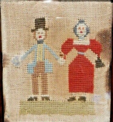 1820s RARE ANTIQUE GEORGIAN  SAMPLER NEEDLEWORK FRAMED