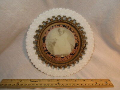 Antique Photo In Milk Glass Plate Gold Trim Child Photography Vintage Old Wall