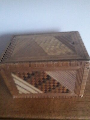 19th century Straw work Tea Caddy, Probably Prisoner of War.Pine body,Zinc liner